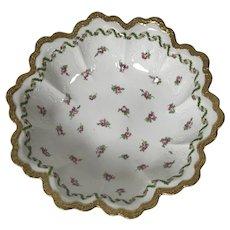 Nice Decorative Royal Austrian Porcelain Bowl W/ Pink Rose Gold Rim Decoration