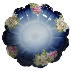 Rosenthal Cobalt Blue & Rose Decorated Center Bowl