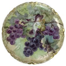 Limoges Porcelain Plate W/ Hand Painted Grape & Gold Decoration