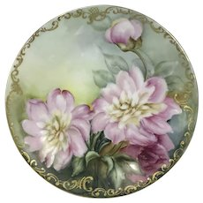 Limoges Porcelain Plate W/ Hand Painted Flowers & Gold Decoration