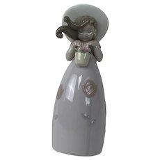 "Lladro ""Little Rose Girl"" W Flowers in Basket #8042 Retired"