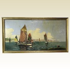 Marcel Catelein French 1892-1979 Oil on Canvas Seascape & Sailboats