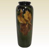 "9.5"" Weller Pottery High Gloss Glaze Vase W/ Iris Decoration Signed Sulcer"