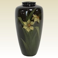 "7.5"" Weller Pottery High Gloss Glaze Vase W/ Daffodil Decoration"