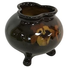 Weller Pottery Tri Footed High Gloss Vase Rose Bowl W/ Pansy Flower Decoration