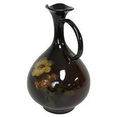 Weller Pottery High Gloss Glaze Ewer Vase W/ Yellow Rose Decoration