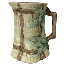 Antique Majolica Pitcher Bamboo Shape
