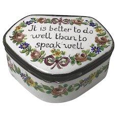 Antique Bilston Battersea Enamel Motto Pill Box 18th Century
