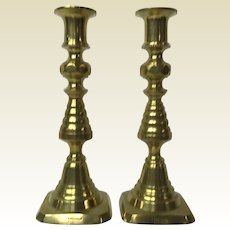 "Pair of 8"" tall 19th Century English Brass Push Up Candlesticks"