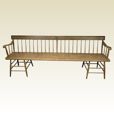 19th Century 7 Foot One Board Windsor Deacons Bench 8 Leg Two Section Stretcher Base In Orginal Musterd Paint