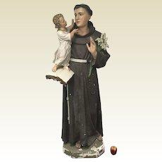 Circa 1930 Life Size Daprato Statuary Co. St. Anthony and Child Jesus