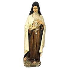 Circa 1930 Life Size Daprato Statuary Co. Saint Theresa Teresa  Statue Holding Flowers