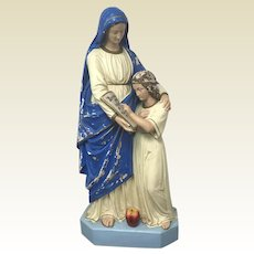Large Antique Plaster Statue of St Anne and Young Mary