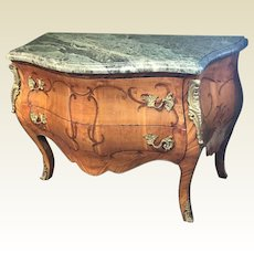 Early 20th Century French Bombe Chest With Marquetry