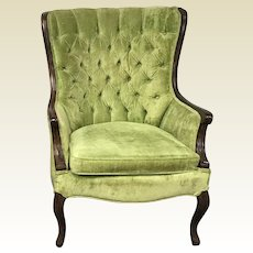 Vintage French Provincial Wingback Tufted Bright Green Velvet Accent Chair