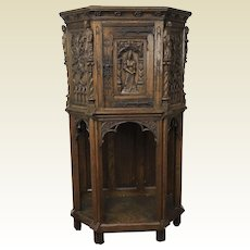 Small Early 20th Century Carved Figures Oak Continental Revival Court Cabinet