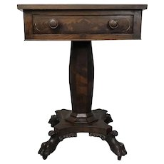 Fine Circa 1820 American Empire Mahogany One Drawer Stand on Acanthus Claw Feet