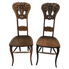 Pair of Oak North-Wind Chairs by Michigan Chair Co Circa 1890's