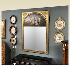 Large Antique Louis XVI Style Trumeau Mirror W/ Oil on Board Painting of Putti Cherub
