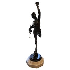 Lifesize French Art Nouveau Style Bronze Female Nude Nymph Statue - Cibardie