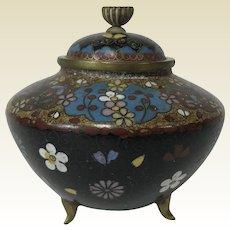 Fine Antique Meiji Japanese Cloisonne Tri Footed Censer
