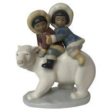 Lladro #5350 Eskimo Riders Retired Polar Bear and Children