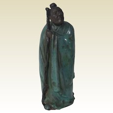 Antique 19th C Chinese Mudman Figurine of Man in Turquoise Glaze
