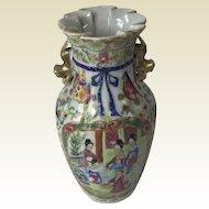 19th Century Chinese Porcelain Rose Mandarin Flower Vase W/ Ribbed Body