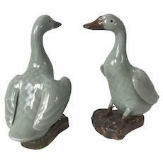 Pair of Chinese Republican Period Celadon Geese Bird Figurine