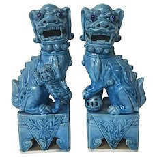 "Fine Pair of 9"" Figures of Chinese Export Turquoise Guardian Lions or Foo Dogs"