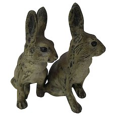 Vienna Bronze Cold Paint Miniature Rabbit Pair Group