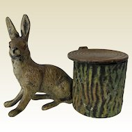 Rare Cold Painted Metal Rabbit by Tree Stump Inkwell