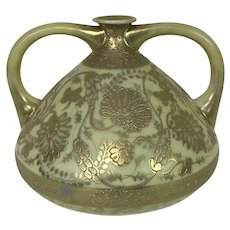 "Nippon Moriage 2 Handle Gold Decorated 5"" Bud Vase"