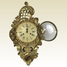Early 20th Century Carved Gilded Wooden French Rococo Wall Clock Signed Case