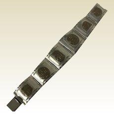 Aztecs Motif Taxco Sterling Cuff Bracelet