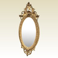 "71"" Tall Large 19th Century Oval Ornate Rococo Gilded French Mirror"