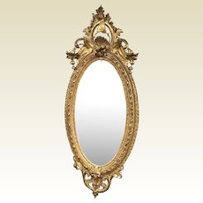 """71"""" Tall Large 19th Century Oval Ornate Rococo Gilded French Mirror"""