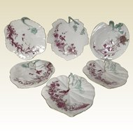 Exceptional Set of 6 French Porcelain Leaf Shaped Bird Tree Decorated Dessert Plates