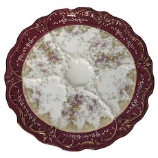 French Porcelain Gold Pink Rose Decorated Oyster Plate (4 available)