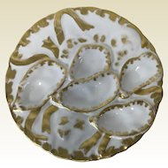 Limoges Oyster Plate W/ Gold Decoration