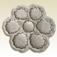 Limoges Oyster Plate W/ Gold & Pink Rose Decoration
