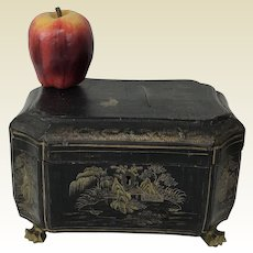 Antique Claw Footed Chinese Chinoiserie  Lacquered Valuable, Jewelry Box