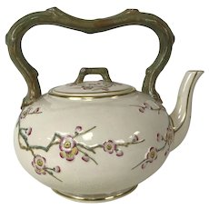 Antique English Staffordshire Porcelain Water Kettles W/ Blossom & Tree Branch Motif