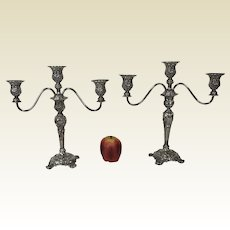 Pair of Heavy Ornate Rogers & Son Candelabras