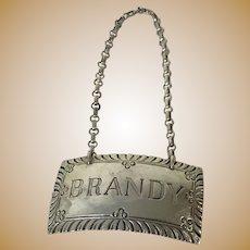Brandy Sterling Silver Decanter Liquor Bottle Tag Label Williamsburg Stieff