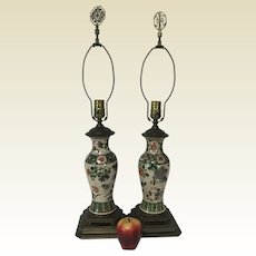 Pair of Antique 19th C Chinese Crackle Porcelain Vase Table Lamps