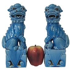 """Pair of 10"""" Figures of Chinese Export Turquoise Guardian Lions or Foo Dogs"""
