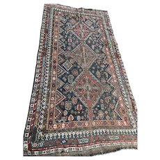 """Antique Rare Worn Faded Qashqai Persian Wool Hand Knotted Rug 48.5"""" by 98"""""""