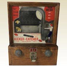 1930's Coin Op Baker Kicker Catcher 1 Cent Penny Football Arcade Machine Game