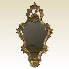 Vintage Rococo Style Carved Wood French Mirror
